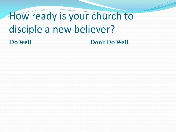 How ready is your church to disciple a new believer?