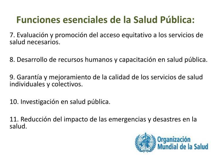 Funciones esenciales de la Salud Pública: