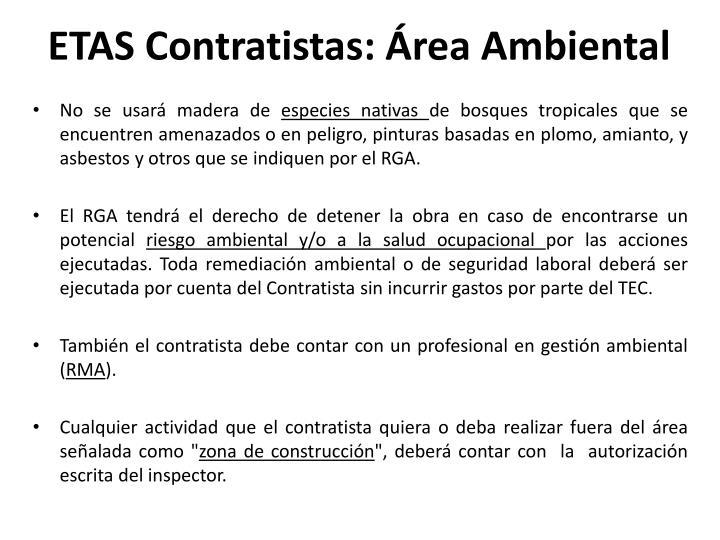 ETAS Contratistas: Área Ambiental