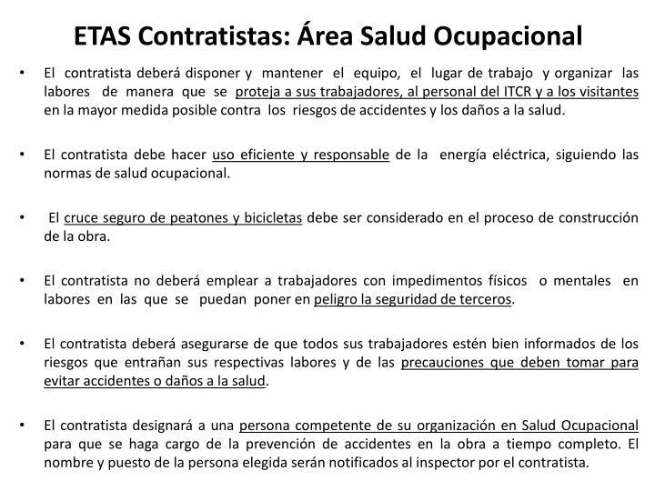 ETAS Contratistas: Área Salud Ocupacional