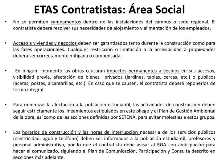 ETAS Contratistas: Área Social