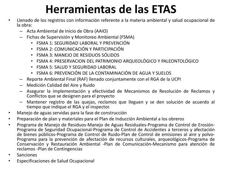 Herramientas de las ETAS