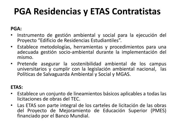 PGA Residencias y ETAS Contratistas