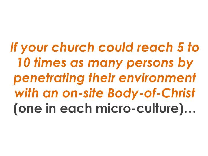 If your church could reach 5 to 10 times as many persons by penetrating their environment