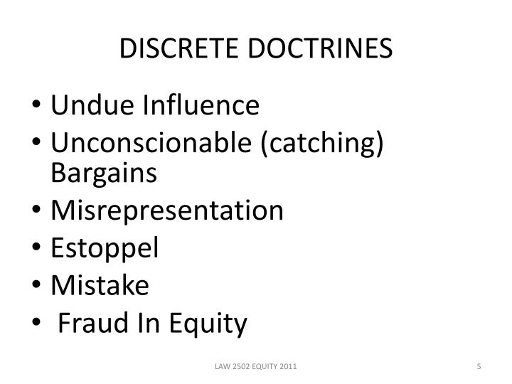 DISCRETE DOCTRINES