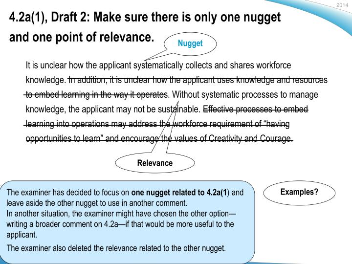 4.2a(1), Draft 2: Make sure there is only one nugget and one point of relevance.