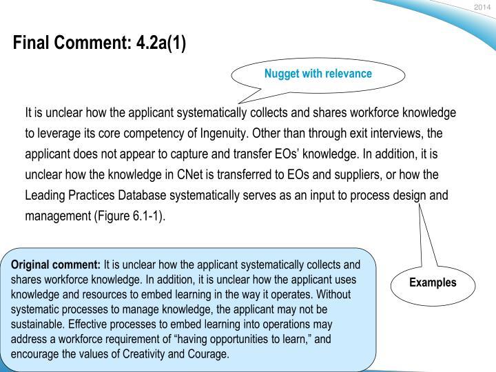 Final Comment: 4.2a(1)