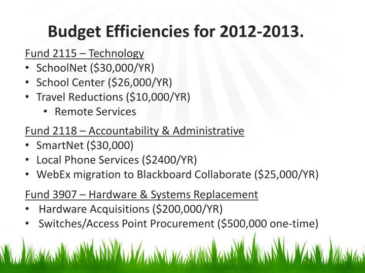Budget Efficiencies for 2012-2013.