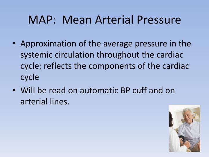 MAP:  Mean Arterial Pressure