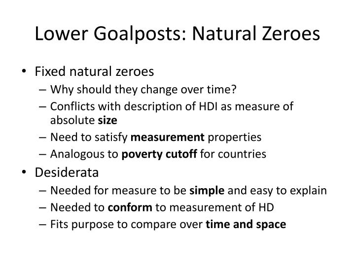 Lower Goalposts: Natural Zeroes