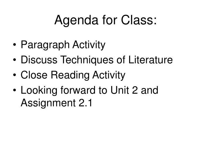 Agenda for Class:
