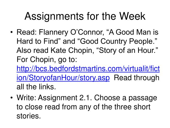 Assignments for the Week