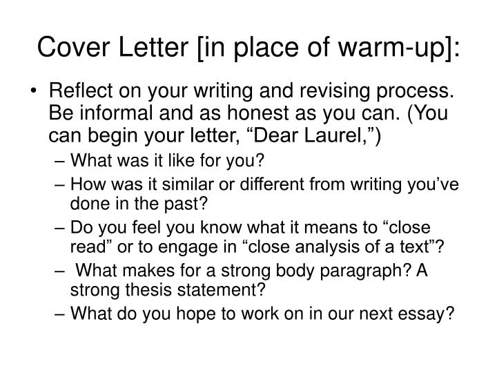 Cover letter in place of warm up