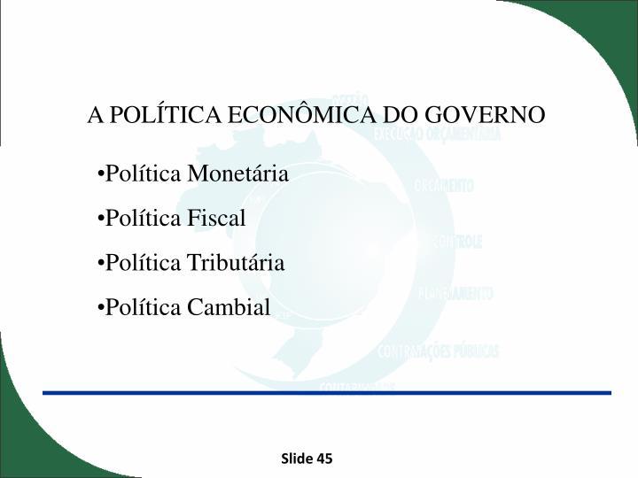 A POLÍTICA ECONÔMICA DO GOVERNO