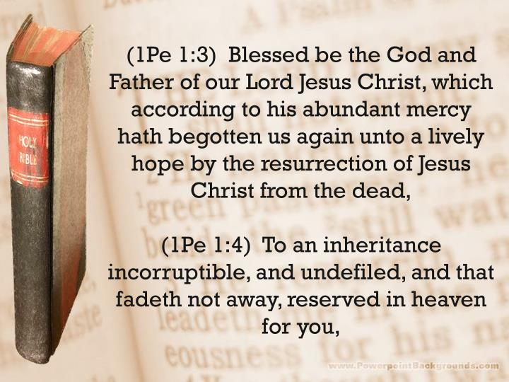 (1Pe 1:3)  Blessed be the God and Father of our Lord Jesus Christ, which according to his abundant mercy hath begotten us again unto a lively hope by the resurrection of Jesus Christ from the dead,