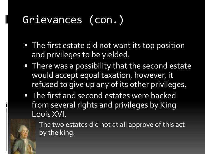 Grievances (con.)