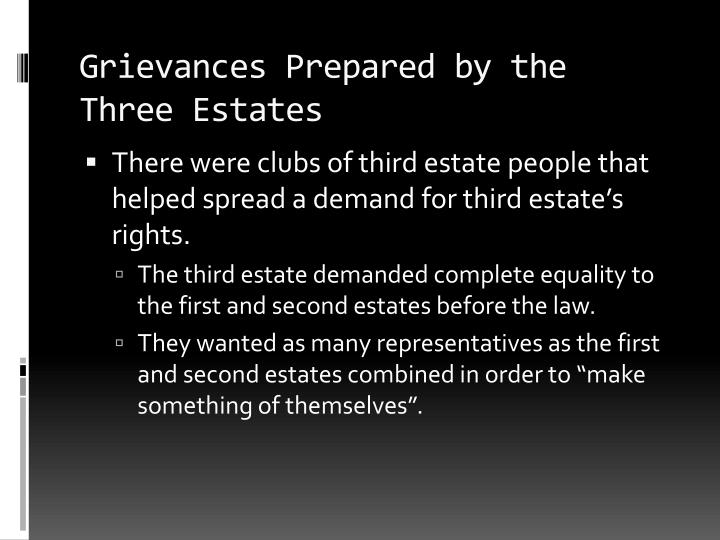 Grievances Prepared by the Three Estates