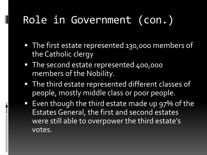 Role in Government (con.)