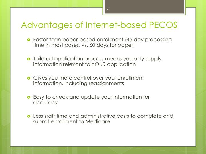 Advantages of Internet-based PECOS