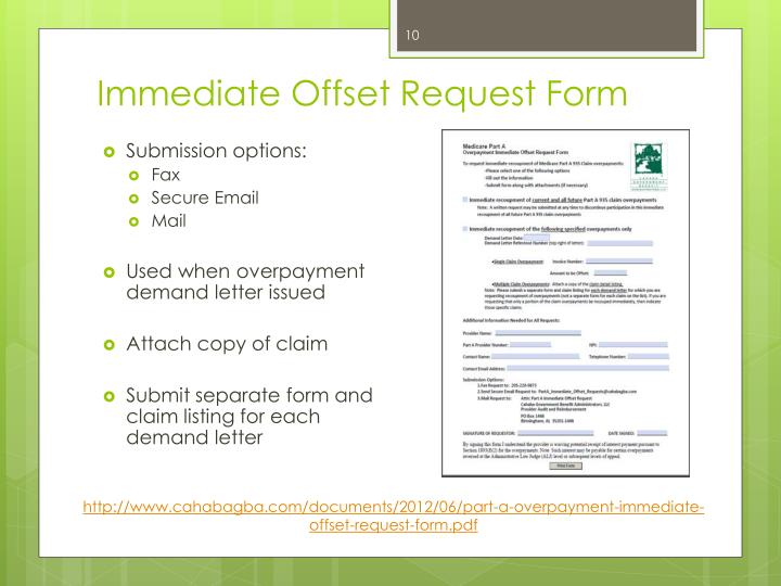 Immediate Offset Request Form