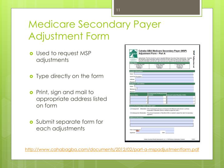 Medicare Secondary Payer Adjustment Form