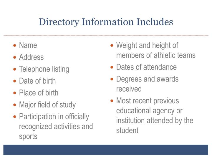 Directory Information Includes