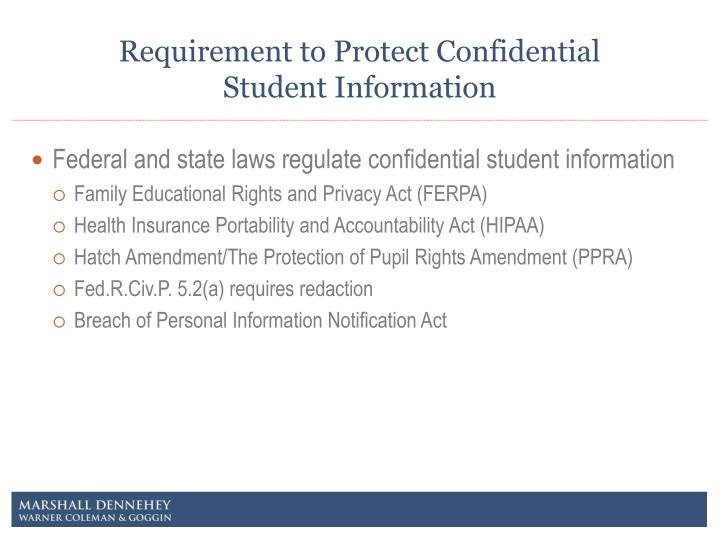 Requirement to protect confidential student information