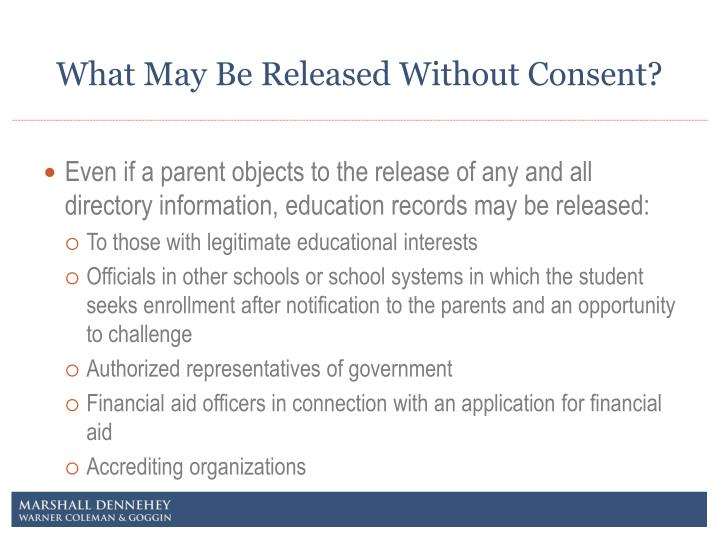 What May Be Released Without Consent?