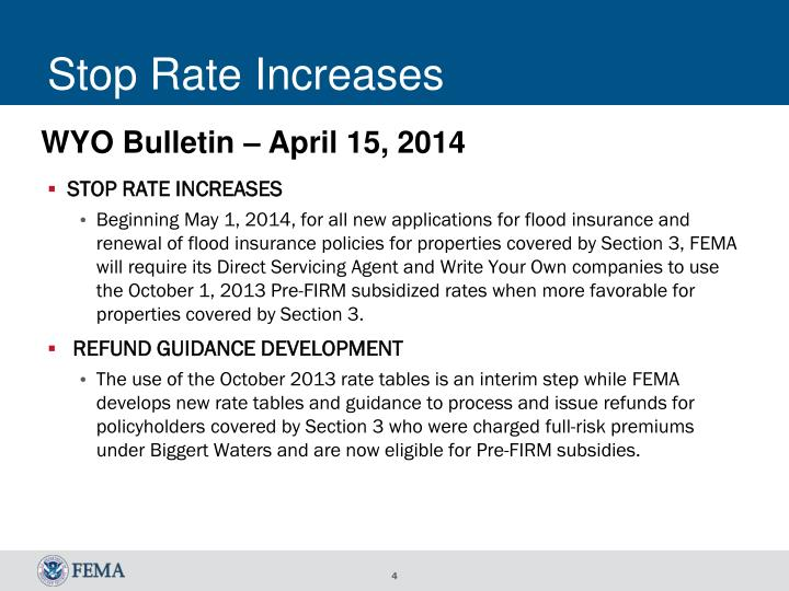 Stop Rate Increases