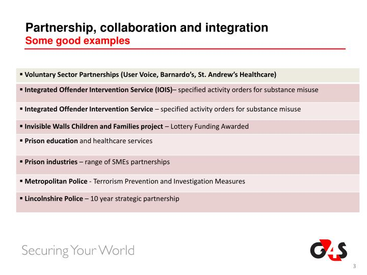 Partnership, collaboration and integration