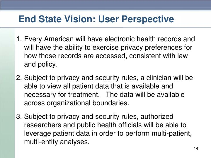 End State Vision: User Perspective