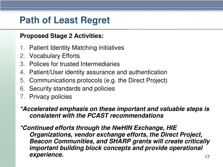Path of Least Regret