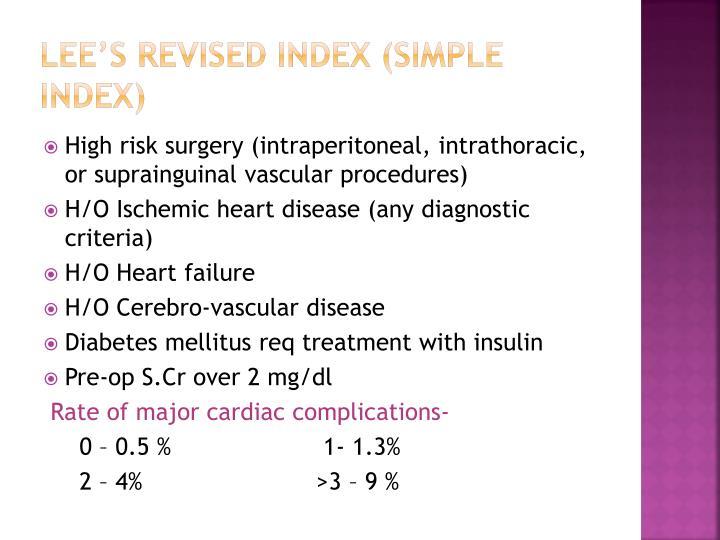 Lee's revised index (simple index)