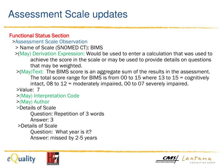 Assessment Scale updates