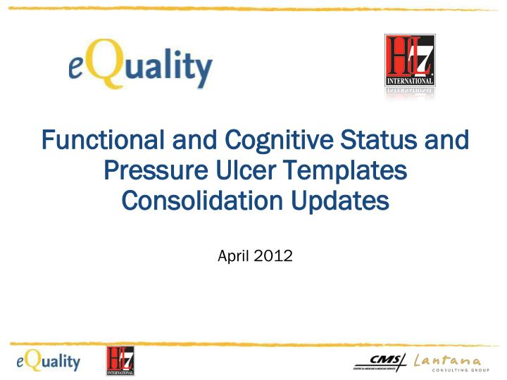 Functional and cognitive status and pressure ulcer templates consolidation updates