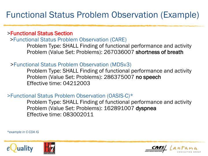 Functional Status Problem