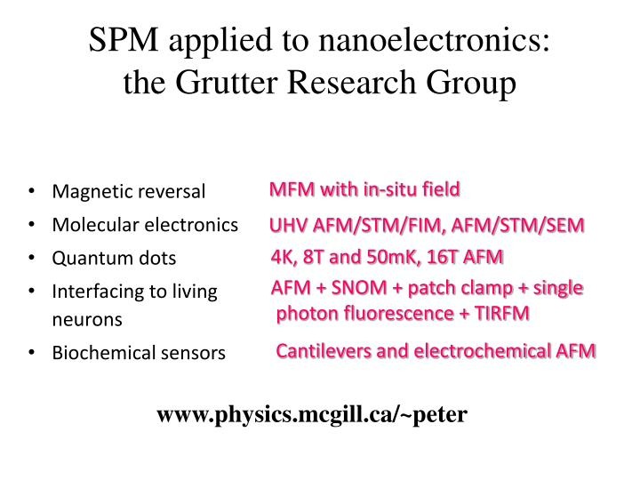 Spm applied to nanoelectronics the grutter research group