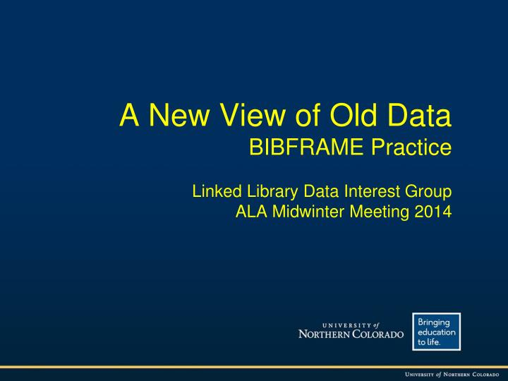 A New View of Old Data