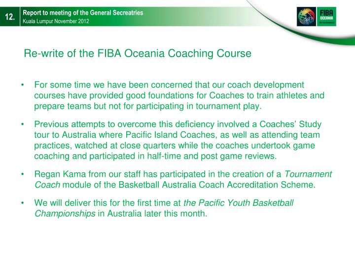 Re-write of the FIBA Oceania Coaching Course
