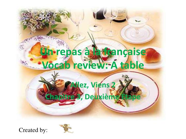 Un repas la fran aise vocab review a table