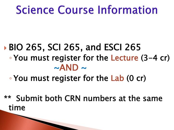 Science Course Information