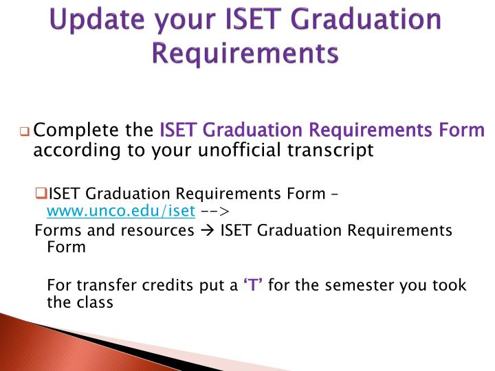Update your ISET Graduation Requirements