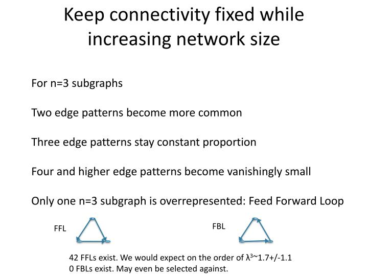 Keep connectivity fixed while increasing network size