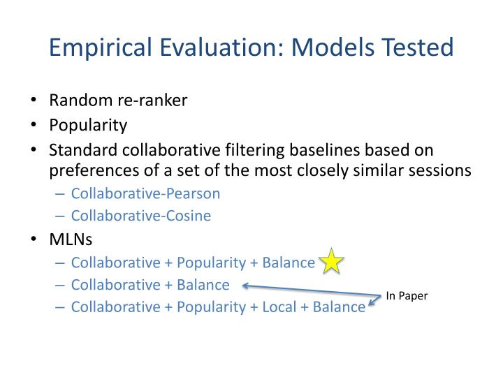 Empirical Evaluation: Models Tested