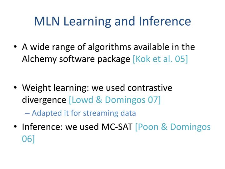 MLN Learning and Inference