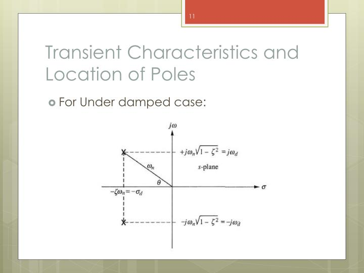 Transient Characteristics and Location of Poles