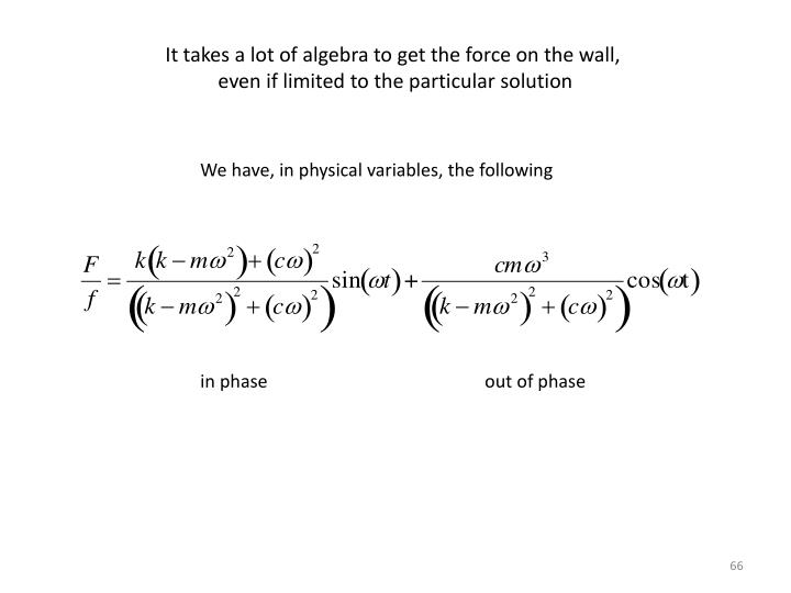 It takes a lot of algebra to get the force on the wall,