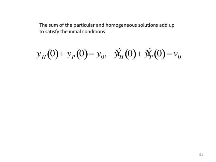 The sum of the particular and homogeneous solutions add up