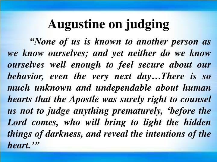 Augustine on judging