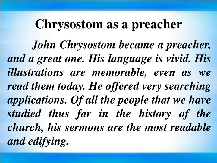 Chrysostom as a preacher